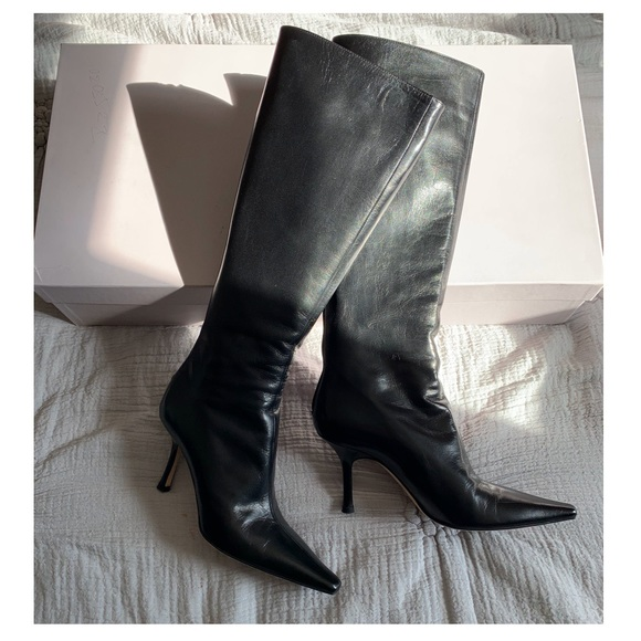 Black Leather Pointed Toe Boots | Poshmark